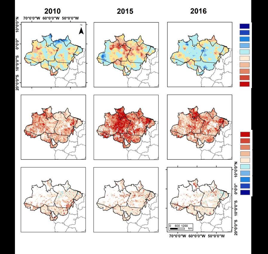 Mapa da distribuição espacial das áreas com aumento e redução de chuva, temperatura e queimadas nos anos de 2010, 2015 e 2016
