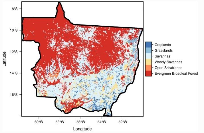 Variação na cobertura da terra no Estudo em Mato Grosso